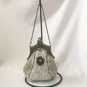 VTG Victorian Beaded Sequins Handle Shoulder Bag
